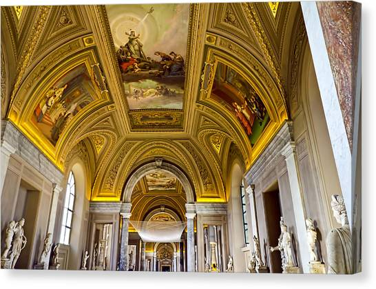 The Vatican Museum Canvas Print - Ceiling Art - Vatican Museum by Jon Berghoff