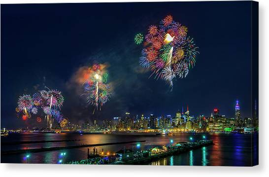 Party Canvas Print - Celebration Of Independence Day In Nyc by Hua Zhu