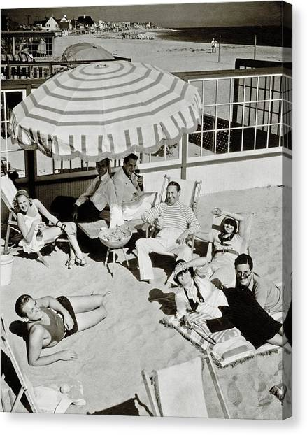 Celebrities On A Beach Canvas Print by Edward Steichen