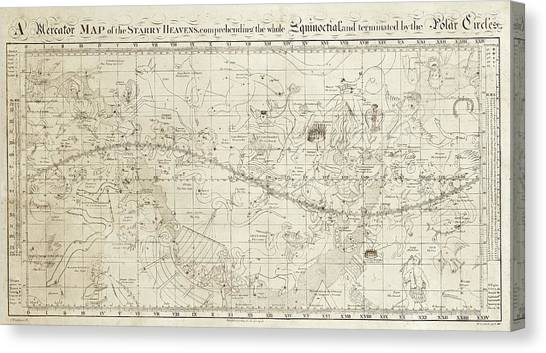 Uranus Canvas Print - Celestial Map Of The Heavens by Library Of Congress, Geography And Map Division