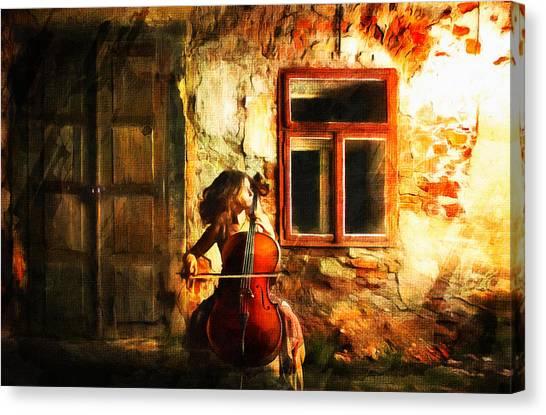 Cellist By Night Canvas Print
