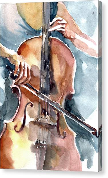 Cellist Canvas Print - Cellist by Faruk Koksal