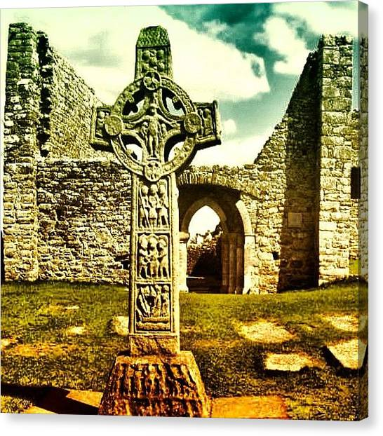 Medieval Art Canvas Print - Celtic Cross - Ireland by Luisa Azzolini