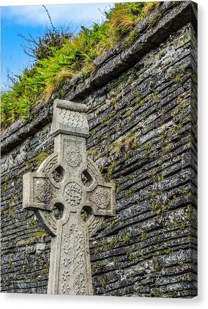 Celtic Cross At Kilmurry-ibrickan Church Canvas Print