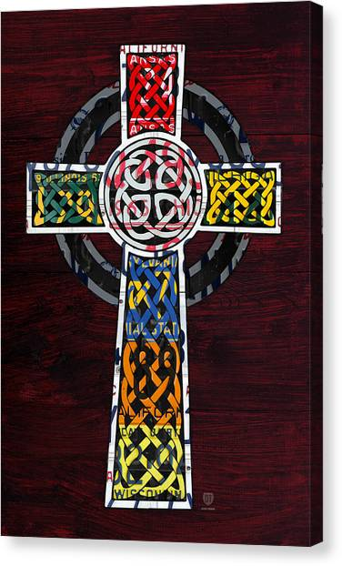 Celtics Canvas Print - Celtic Cross License Plate Art Recycled Mosaic On Wood Board by Design Turnpike