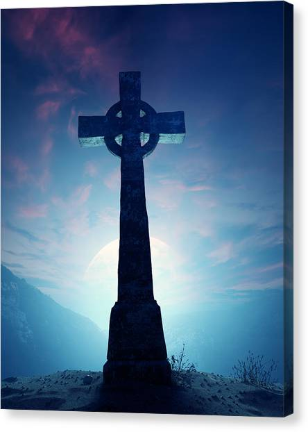 Celtic Art Canvas Print - Celtic Cross With Moon by Johan Swanepoel