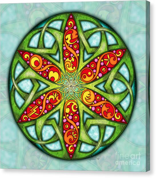 Canvas Print featuring the mixed media Celtic Summer Mandala by Kristen Fox
