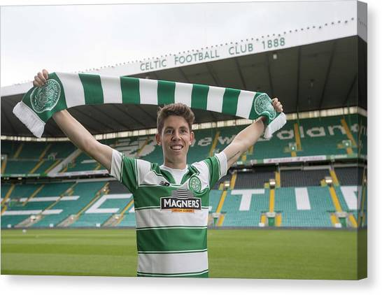 Celtic Unveil New 4-year Signing Ryan Christie Canvas Print by Jeff Holmes