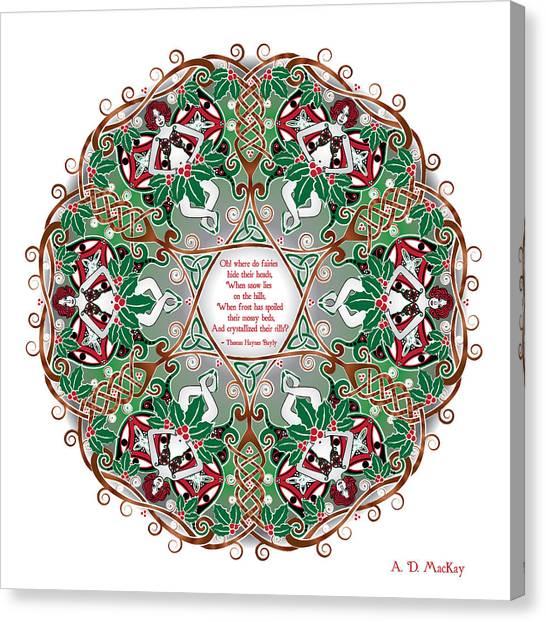 Celtic Winter Fairy Mandala Canvas Print