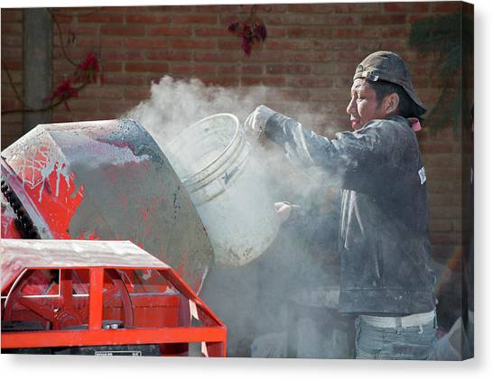 Oaxaca Canvas Print - Cement Mixing For Road-building by Jim West