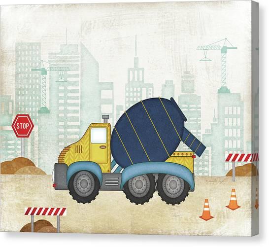 Dump Trucks Canvas Print - Cement Truck by Jennifer Pugh