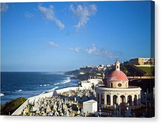 Spanish Fort Canvas Print - Cemetery And La Perla From El Morro by Miva Stock