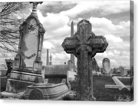 Dead Canvas Print - Cemetery Graves by Jennifer Ancker