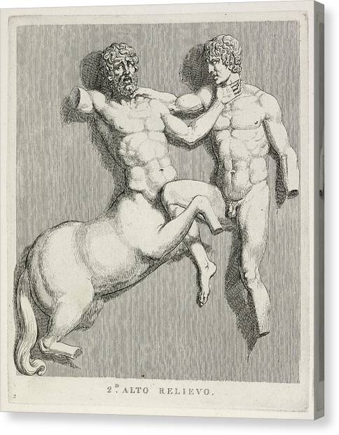 Mythological Creatures Canvas Print - Centaur And Man by British Library