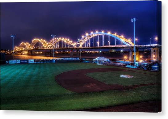 Baseball Canvas Print - Centennial Bridge And Modern Woodmen Park by Scott Norris