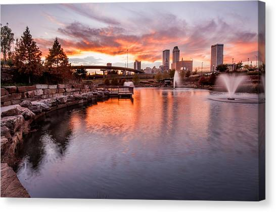 Centennial Canvas Print - Centennial Park Sunset - Tulsa Oklahoma by Gregory Ballos