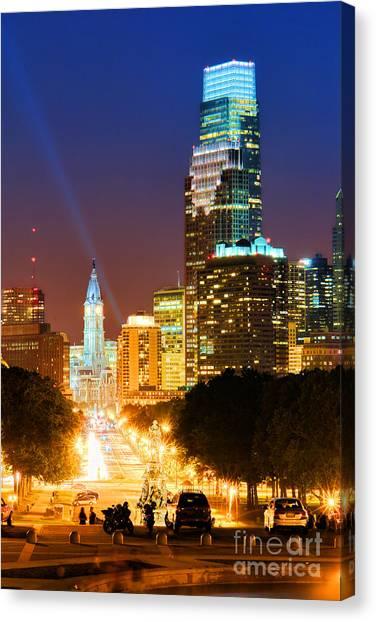 Philadelphia Phillies Canvas Print - Center City Philadelphia Night by Olivier Le Queinec