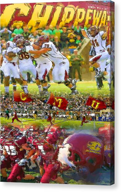 Central Michigan University Canvas Print - Central Michigan Football Collage by John Farr