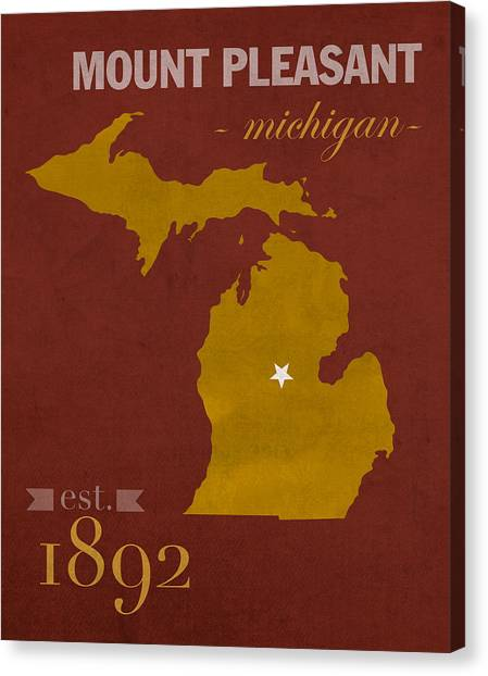 Central Michigan University Canvas Print - Central Michigan University Chippewas Mount Pleasant College Town State Map Poster Series No 028 by Design Turnpike