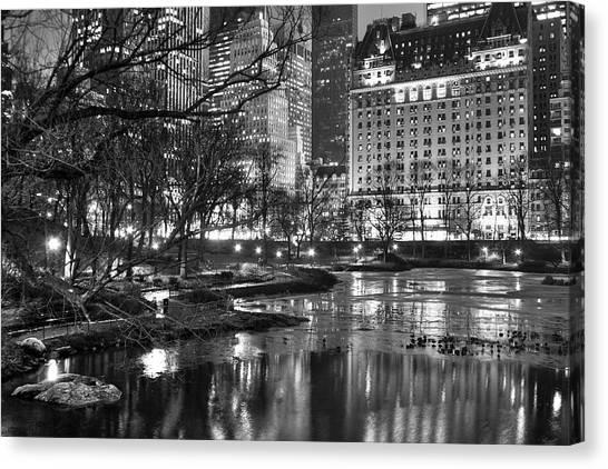 Central Park Lake Night Canvas Print