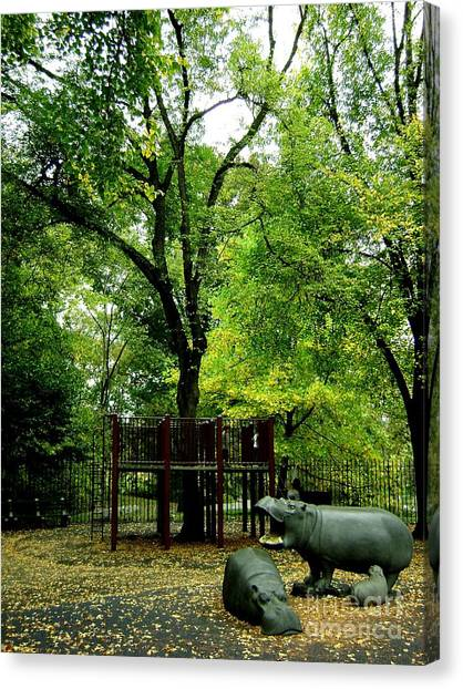 Central Park Playground Canvas Print by Claudette Bujold-Poirier