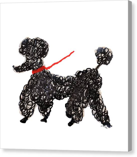 Poodles Canvas Print - Central Park Poodle by Gina Ritter