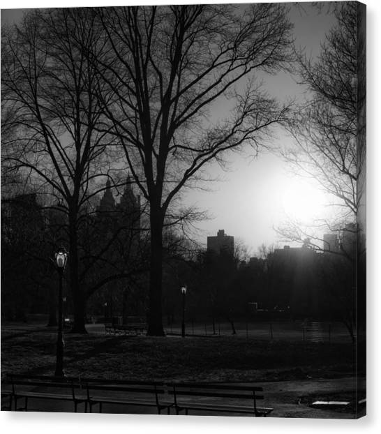 Central Park Sunset In Black And White 3 Canvas Print