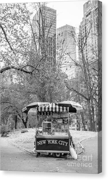 Hot Dogs Canvas Print - Central Park Vendor by Edward Fielding