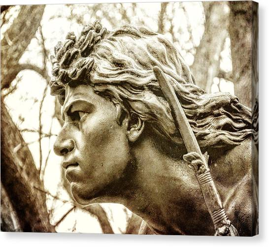 Sculptors Canvas Print - Central Park's Indian Hunter Statue by Jon Woodhams