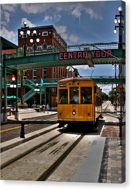 Train Conductor Canvas Print - Centro Ybor Stop by Kandy Hurley