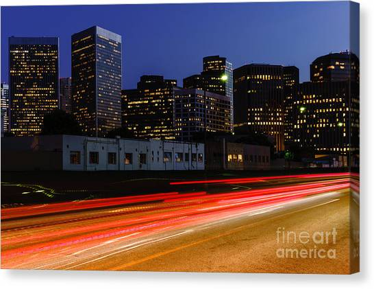 Beverly Hills Canvas Print - Century City Skyline At Night by Paul Velgos