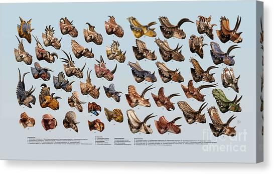 Restoration Canvas Print - Ceratopsian Cornucopia by Julius Csotonyi