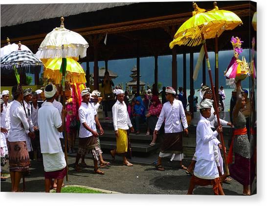 Ceremony At Lake Beratan Bali Canvas Print