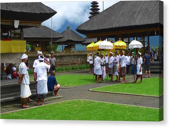 Ceremony Gathering At Beratan Bali Canvas Print