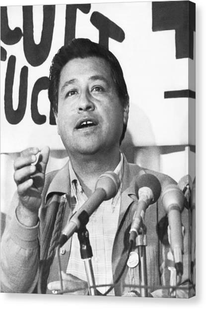 Press Conference Canvas Print - Cesar Chavez Announces Boycott by Underwood Archives