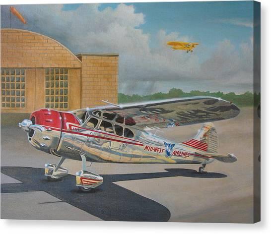 Cessnas Canvas Print - Cessna 195 by Stuart Swartz
