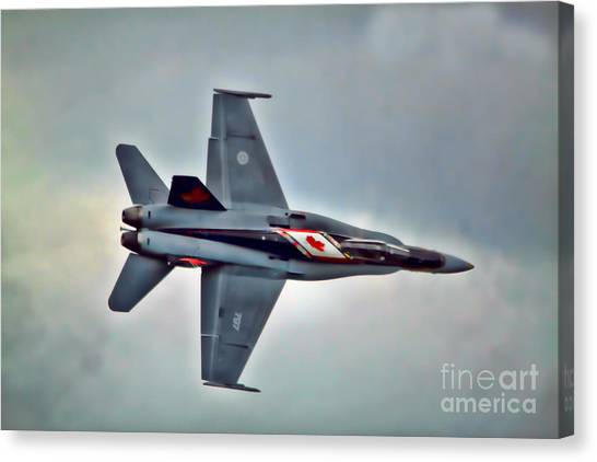 Canvas Print - Cf18 Hornet Topview Flying by Cathy Beharriell
