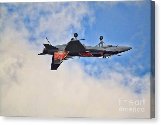 Canvas Print - Cf18 Hornet Upside Down Fly By  by Cathy Beharriell