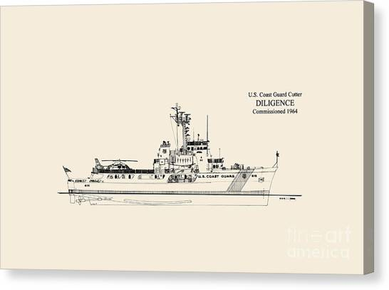 Coast Guard Canvas Print - C G C  Diligence  by Jerry McElroy - Public Domain Image