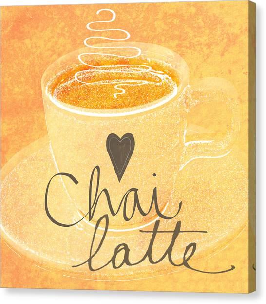 Cafe Art Canvas Print - Chai Latte Love by Linda Woods