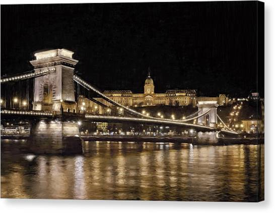 Danube Canvas Print - Chain Bridge And Buda Castle Winter Night Painterly by Joan Carroll