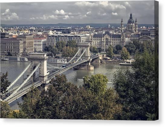 Danube Canvas Print - Chain Bridge Gresham Palace And Basilica by Joan Carroll