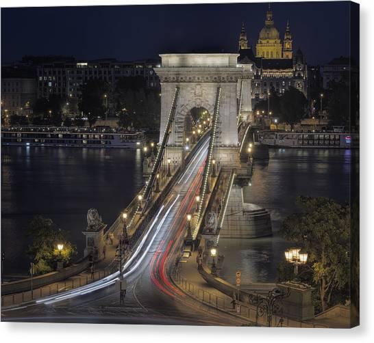 Danube Canvas Print - Chain Bridge Night Traffic by Joan Carroll