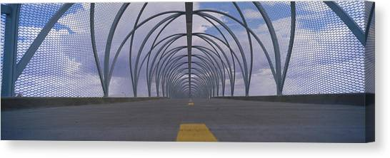 Chain Link Fence Canvas Print - Chain-link Fence Covering A Bridge by Panoramic Images