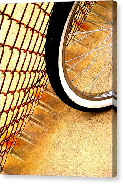 Chain Link Fence Scrapes Concrete Canvas Print