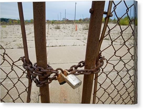Chained And Padlocked Gate Canvas Print by Jim West