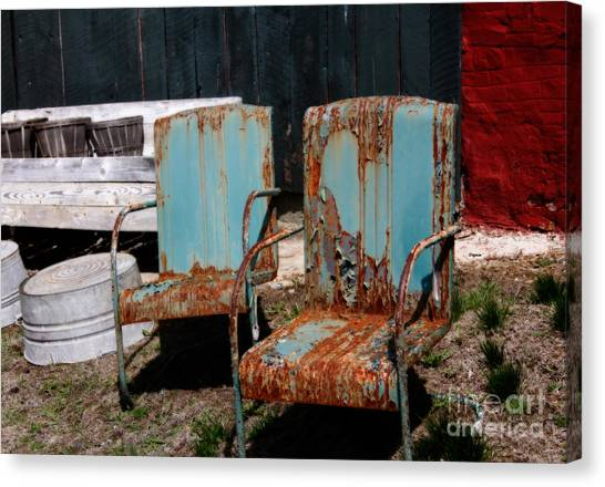 Chair Blossoms  Canvas Print by Steven Digman