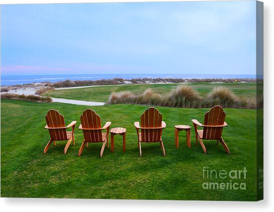 Golf Course Canvas Print - Chairs At The Eighteenth Hole by Catherine Sherman