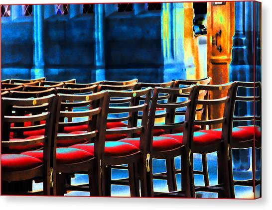 Chairs In Church Canvas Print