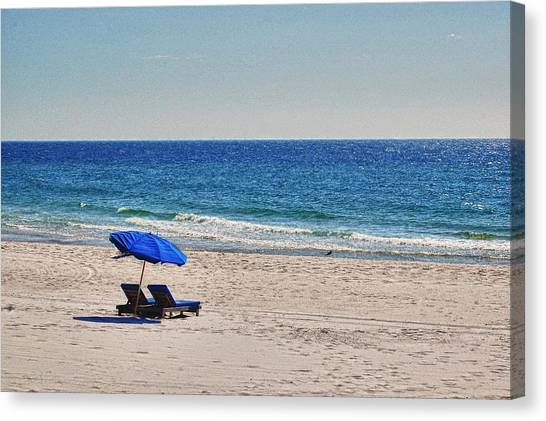Canvas Print featuring the digital art Chairs On The Beach With Umbrella by Michael Thomas